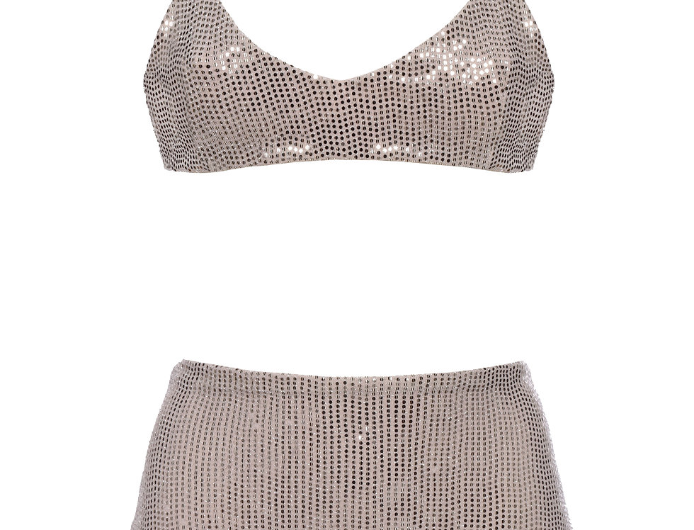Bronze Sequins High Rise Bikini