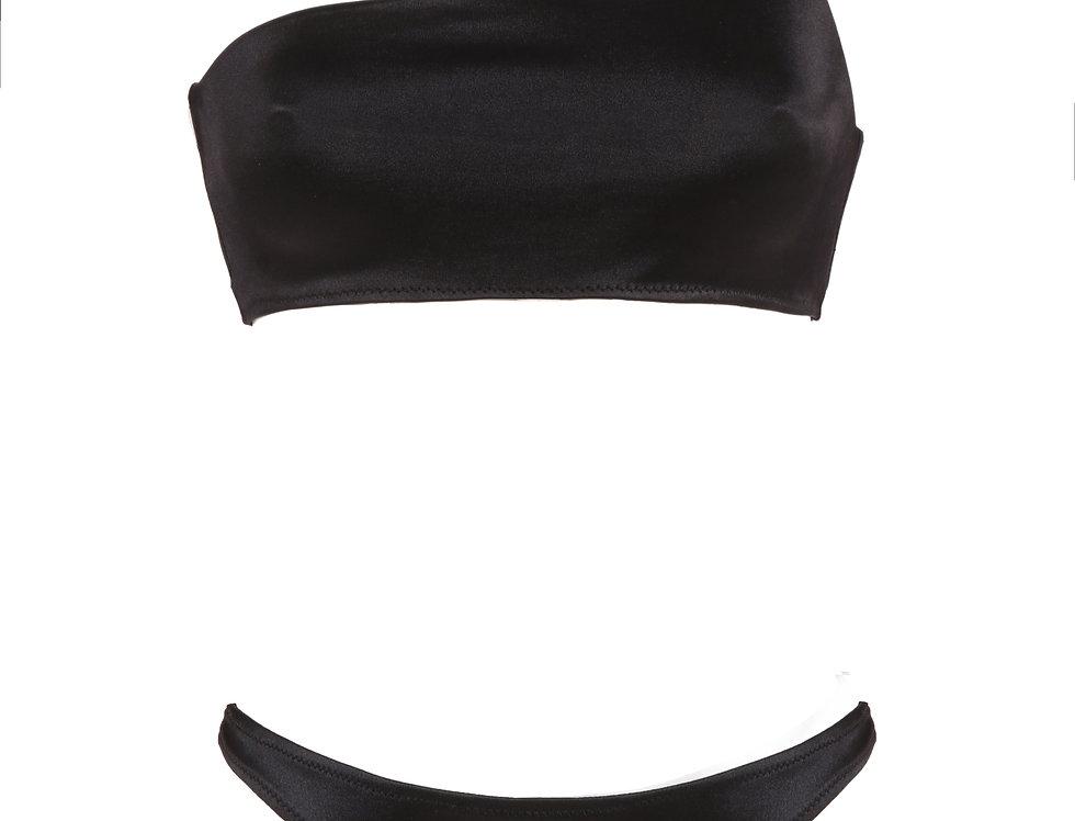 Onyx Black Satin One Strap Bikini