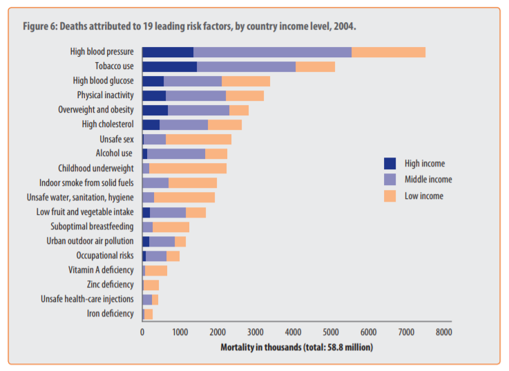 Risk Factors world wide by country income level, 2004