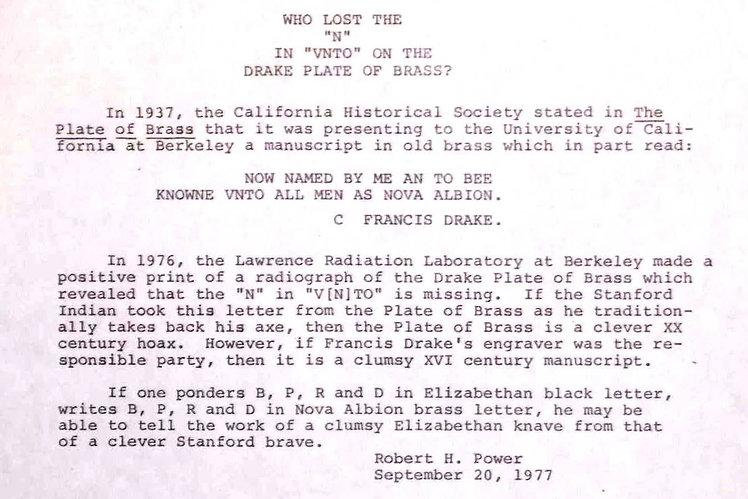 California Historical Society Plate of Brass Robert Power Bancroft crime