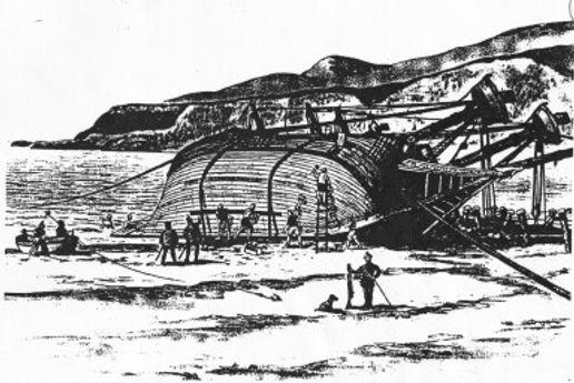 Drakes Treasure Landing Site tallowing sketch
