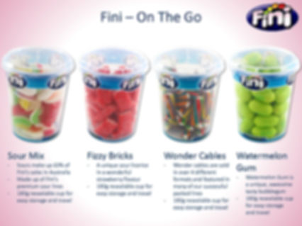 Fini Cups - Sour Mix, Fizzy Bricks, Wonder Cables & Watermelon Gum