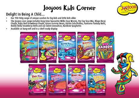 Joojoos Kids Corner - Hang Sell Range Fantimo Belts, Wilbo Worms, Rainbow Spaghettis, Blugo Berry Clouds