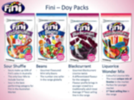 Fini Doy Packs - Jelly Beans, Blackcurrent, Sour Shuffle, Blackcurran Bites & Liquorice Wondr Mix