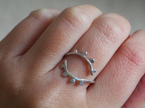 Anello aperto regolabile in argento 925