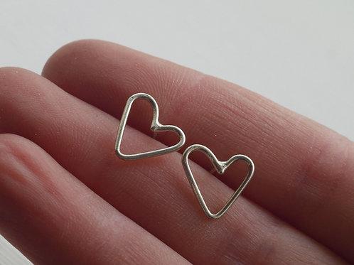 Orecchini a cuore vuoto in argento 925