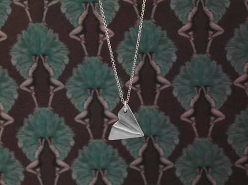Collana in argento 925 con aereo di carta
