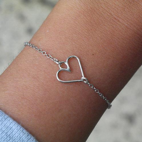 Bracciale con cuore vuoto in argento 925
