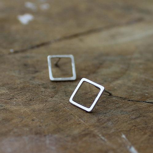 Orecchini quadrati vuoti in argento 925