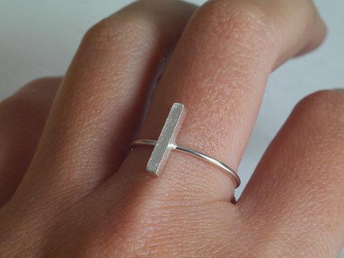 Anello barra verticale in argento 925