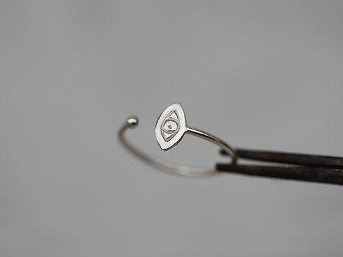 Anello aperto in argento 925 con occhio e pallina