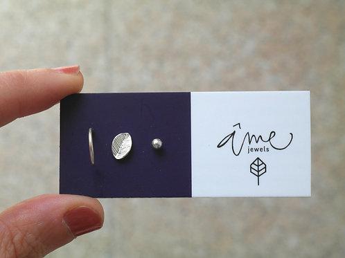 Copia di Set di tre orecchini mini in argento 925