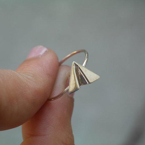 Anello aeroplano di carta in argento 925