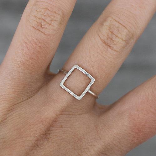 Anello quadrato vuoto in argento 925