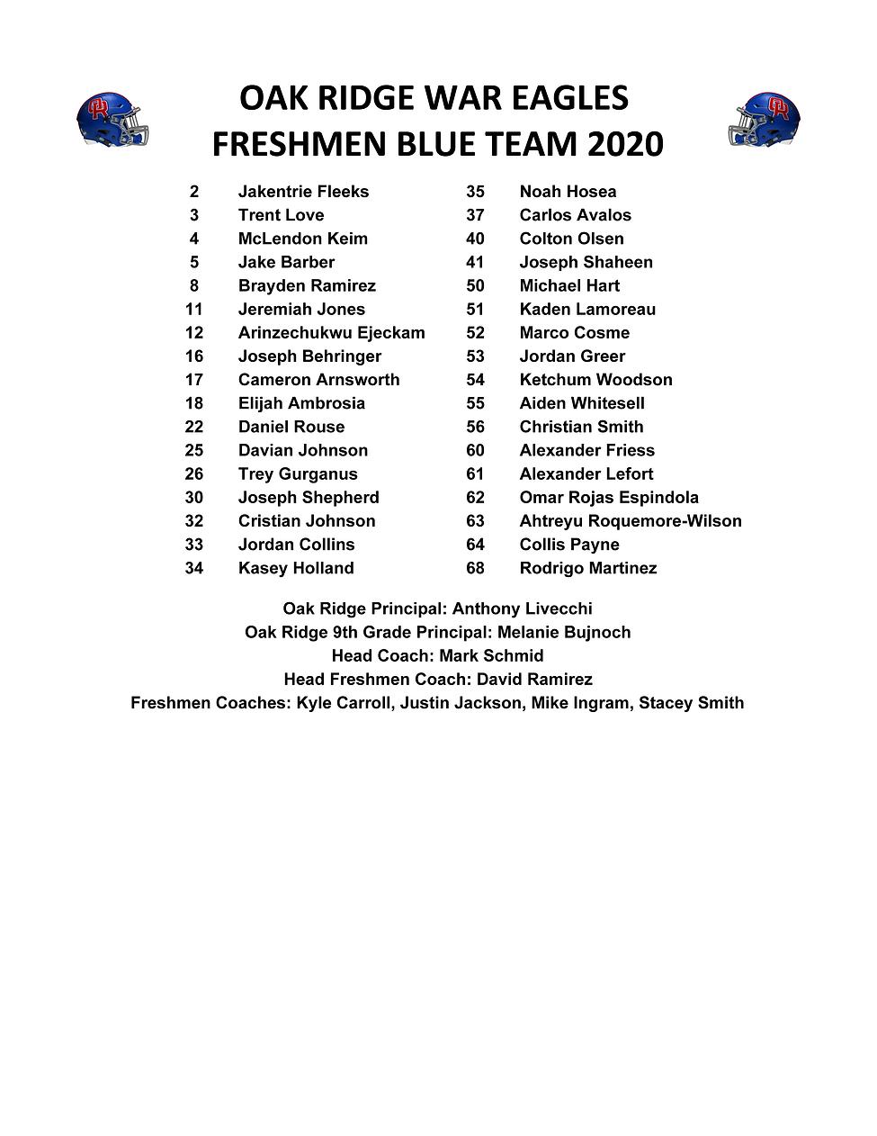 2020 Freshmen Rosters - Blue Roster W_Fa
