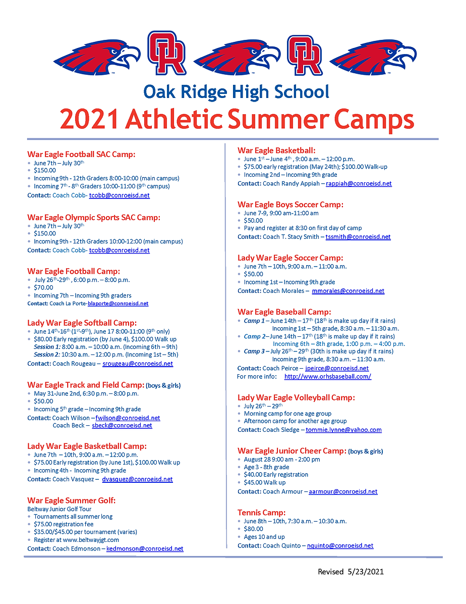 revised again 2021 ORHS Athletic Summer
