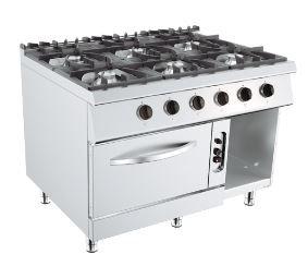 Plinski štednjak sa 6 plamenika, plinska pećnica i otvoreni ormarić