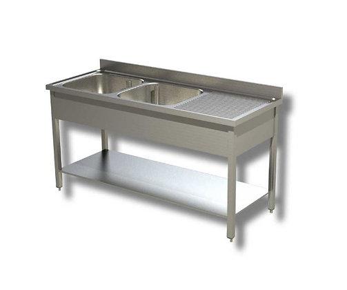 Sudoper dva korita sa ocjednom plohom desno 180x60x85 cm