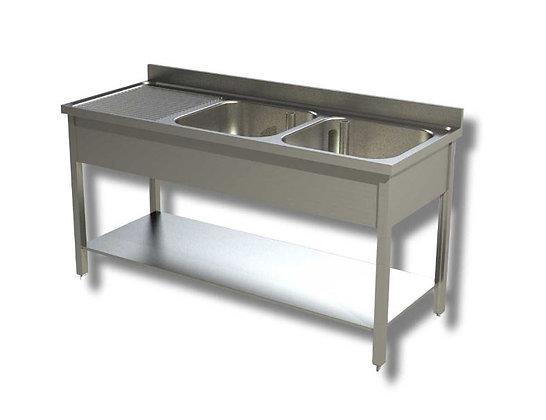 Sudoper dva korita sa ocjednom plohom lijevo 140x70x85 cm
