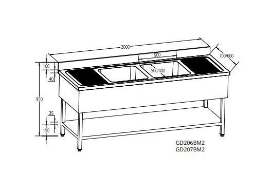 Sudoper dva korita s ocjednom plohom lijevo i desno 2000x700x950 mm
