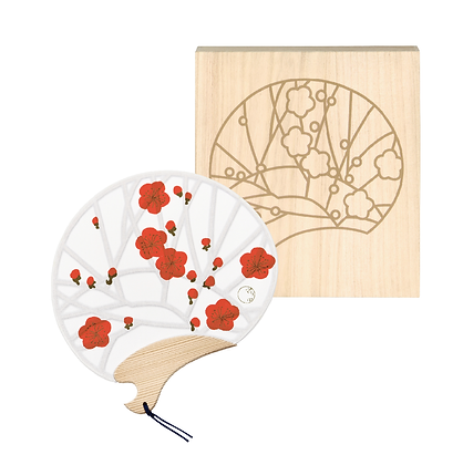 miyako uchiwa with paulownia box _ plum