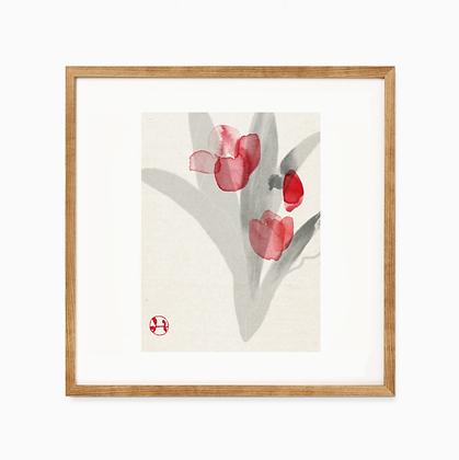 drawing print _ tulip 和紙プリント チューリップ