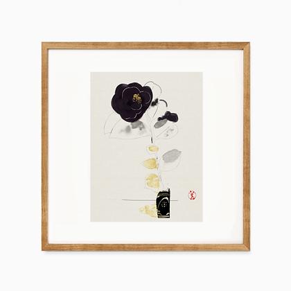 drawing print _ camellia 和紙プリント 砥部椿