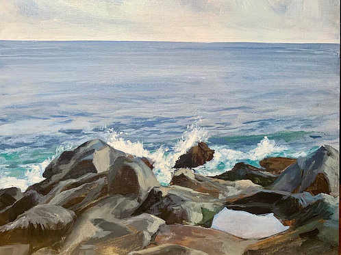 En Plein Air study, rocks and waves.