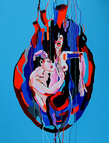 """Nataliya Gurevich, """"König Oedipus"""", Acryl auf Leinwand, 100cm x 134cm, 2017"""