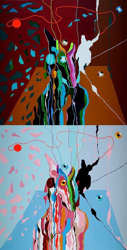 "Nataliya Gurevich, ""Klimbim-Simsalabim, Acryl auf Leinwand, 90cm x 180cm, 2019"