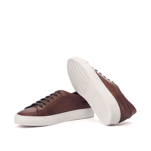 TRAINER - Med Brown Painted Calf Leather