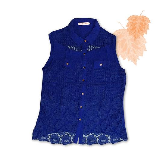 Blusa Azul Rendada - Tam M