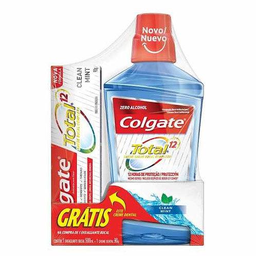 Enxaguante Colgate 500ml +Creme Dent  Total 12