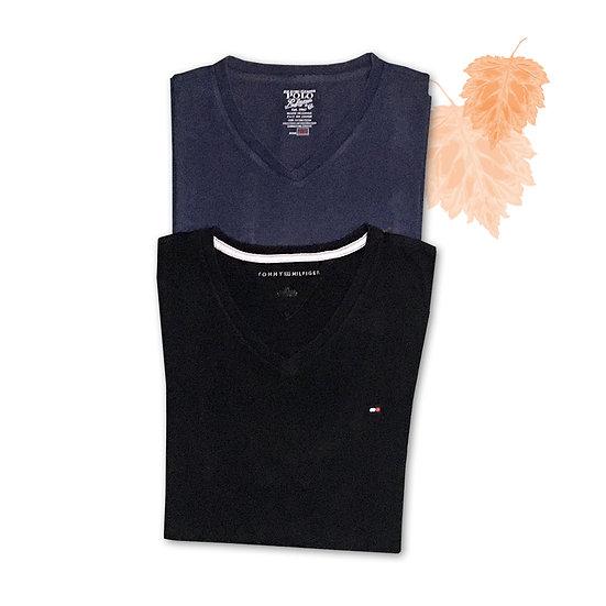 Conjunto Camiseta Azul Polo (Tam M) + Camiseta Preta Tommy Hilfiger (Tam G)