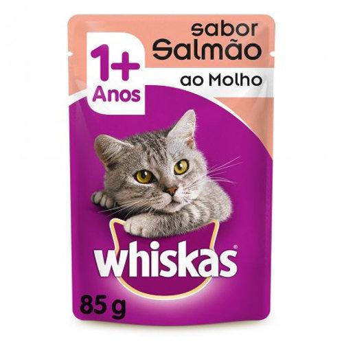 Ração Gatos Whiskas Sachê 85g  1+ Salmão Molho
