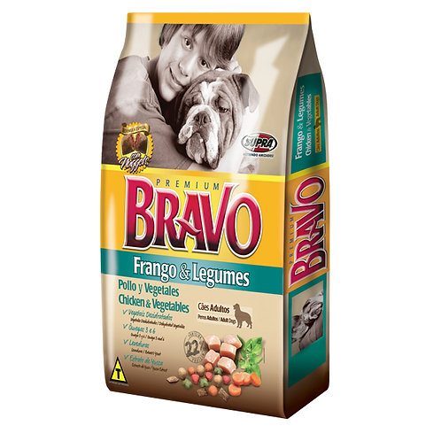 Ração Cães Bravo 8Kg Frango Legumes