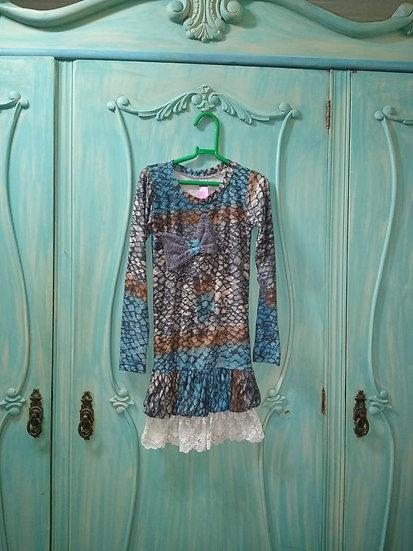 Vestido infantil Tetéle com renda na barra - Tam 4