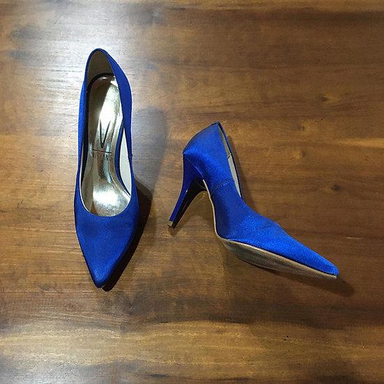 Scarpin azul de tecido Vizzano - Tam 36