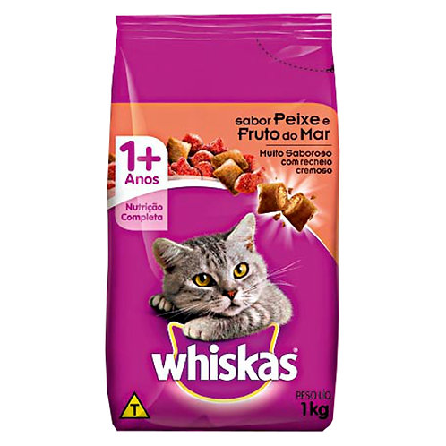Ração Gatos Whiskas 1Kg Frutos Do Mar