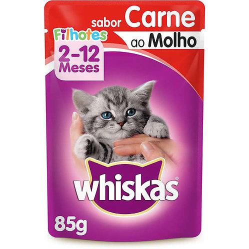 Ração Gatos Whiskas Sachê 85g  Filhote Carne Molho