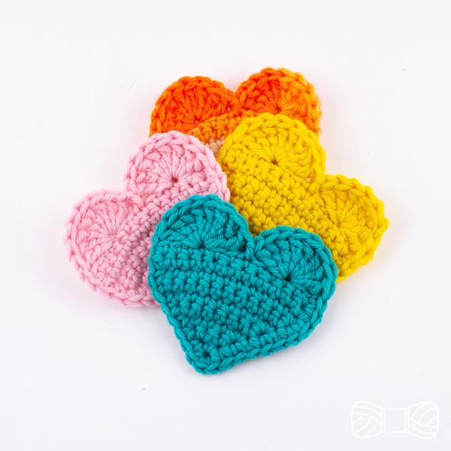 Crochet 2D hearts pattern