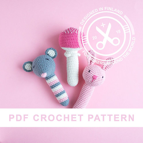 SKALLRA | Crochet animal rattles PDF pattern