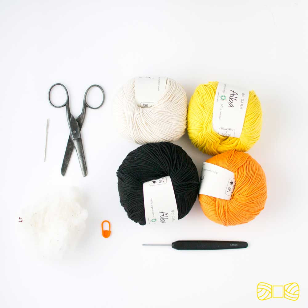 candy corn amigurumi materials