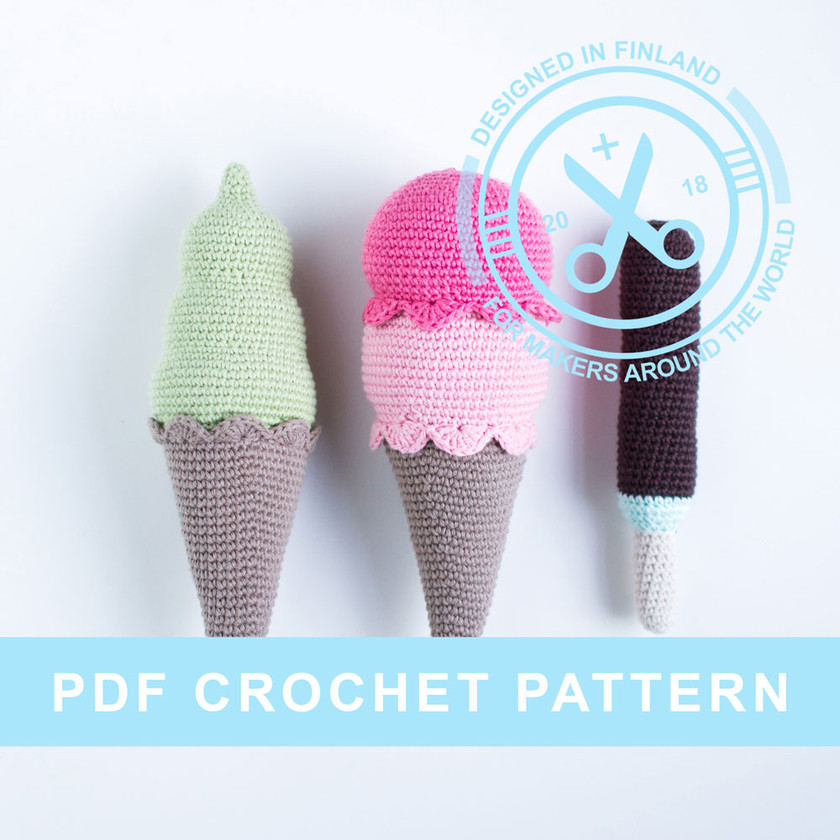 Crochet ice cream pattern