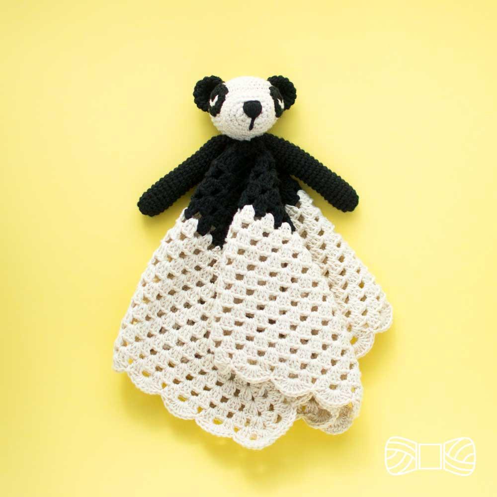 crochet panda snuggle toy