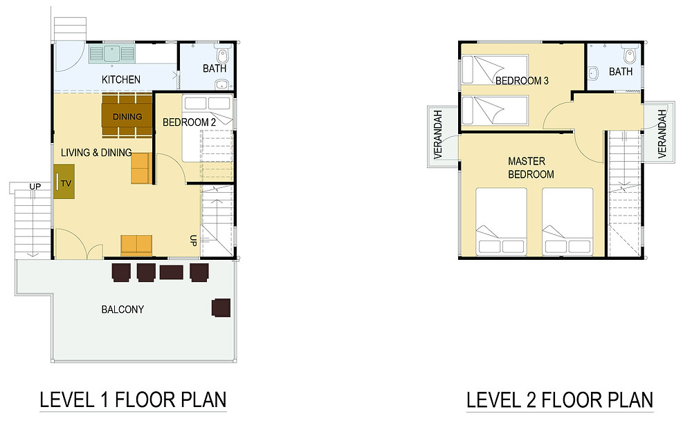 Current 3 Bed 2 Bath Chalet Floor Plans