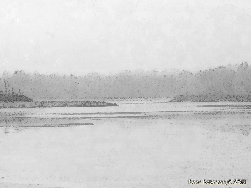 Foggy River-bw