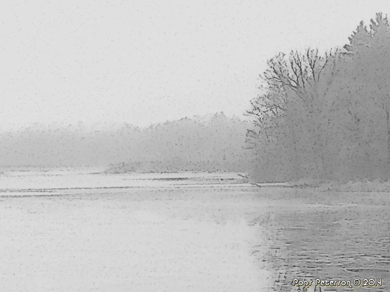 Foggy River East-bw
