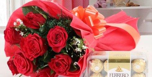 Red Roses and Ferrero Rocher Combo