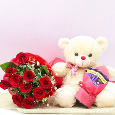 Red Roses with Chocolates and Teddy Combo